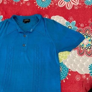 Vintage electric blue collar Top